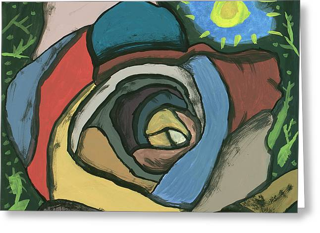 Greeting Card featuring the painting Rainbow Rose by Artists With Autism Inc