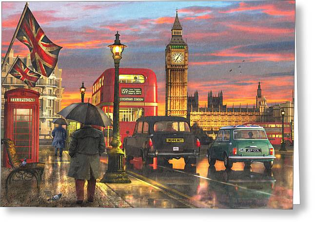 Raining In Parliament Square Greeting Card by Dominic Davison