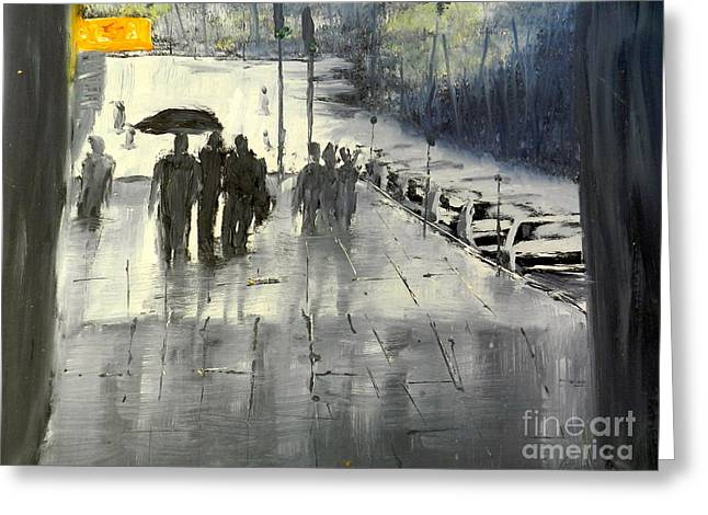 Rainy City Street Greeting Card by Pamela  Meredith