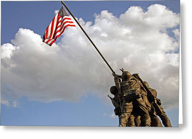 Greeting Card featuring the photograph Raising The American Flag by Cora Wandel