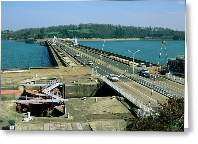Rance Tidal Power Barrage Greeting Card by Martin Bond/science Photo Library