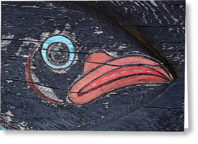 Raven Totem Figure Greeting Card by Carol Leigh