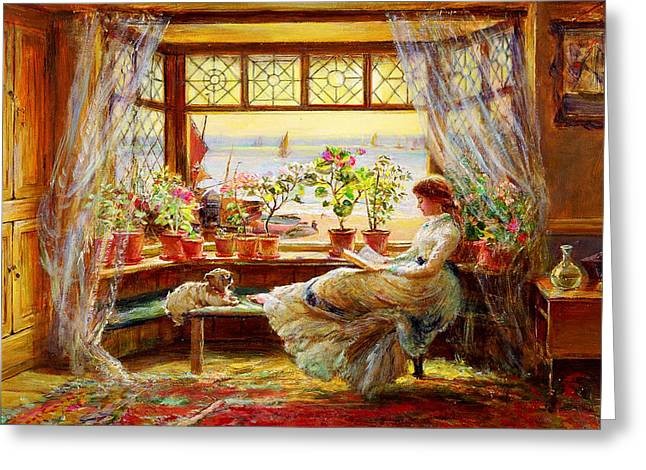 Reading By The Window Greeting Card by Celestial Images