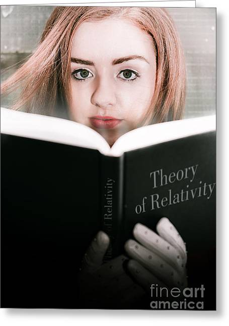 Reading Theory Of Relativity Book Greeting Card