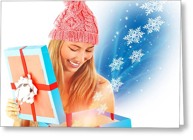 Receive Christmas Present Greeting Card by Anna Om