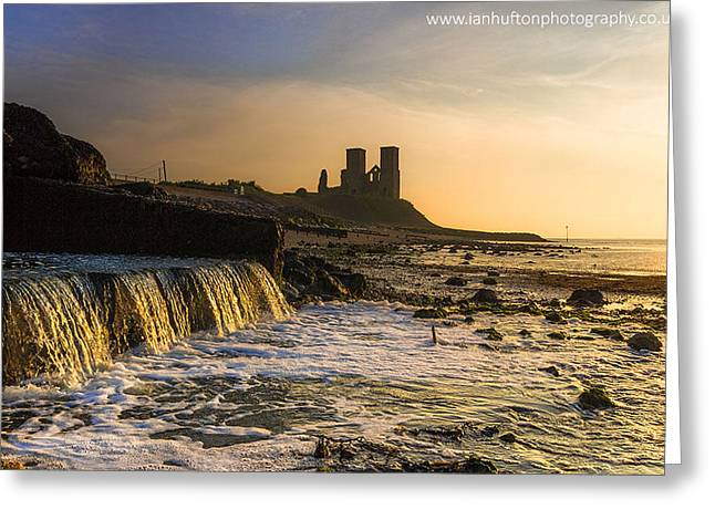 Reculver Sunset Greeting Card by Ian Hufton