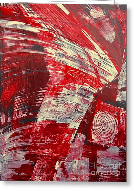 Red And White Greeting Card by Gabriele Mueller