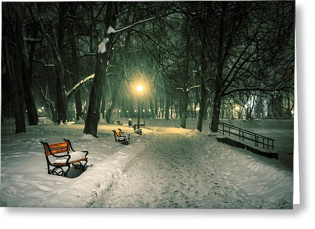 Red Bench In The Park Greeting Card by Jaroslaw Grudzinski
