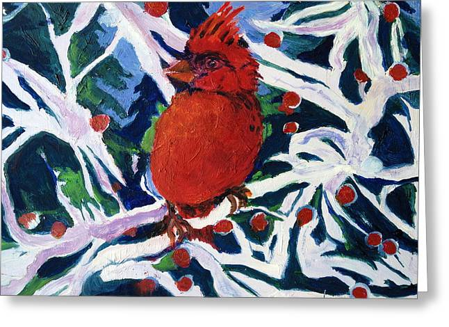 Red Bird Greeting Card by Julie Todd-Cundiff