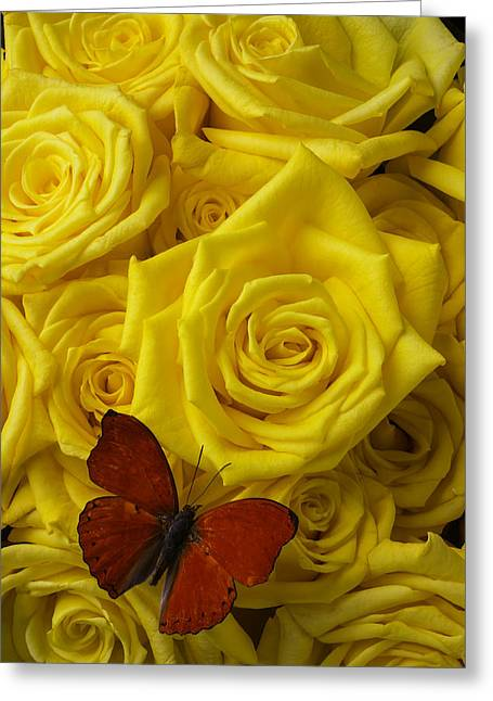 Red Butterfly On Yellow Roses Greeting Card by Garry Gay