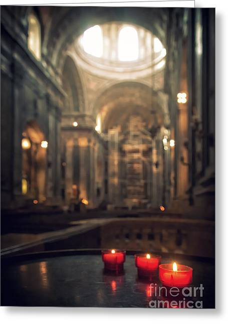 Red Candles Greeting Card by Carlos Caetano