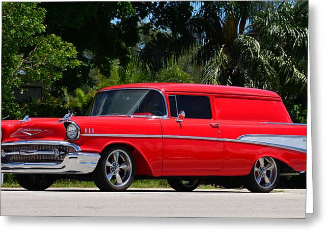 Red Chevy Greeting Card by David Lee Thompson