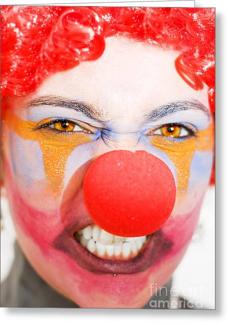 Red Clown Rage Greeting Card by Jorgo Photography - Wall Art Gallery