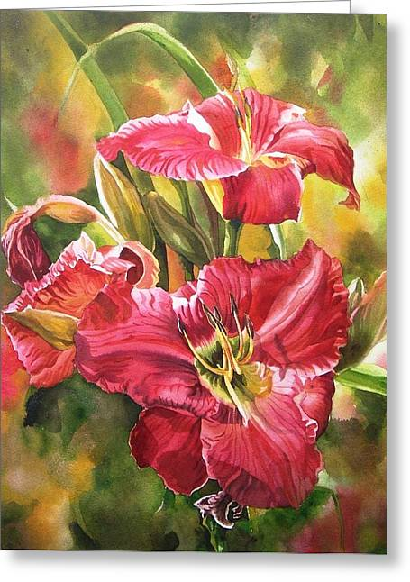 Red Daylilies Greeting Card by Alfred Ng