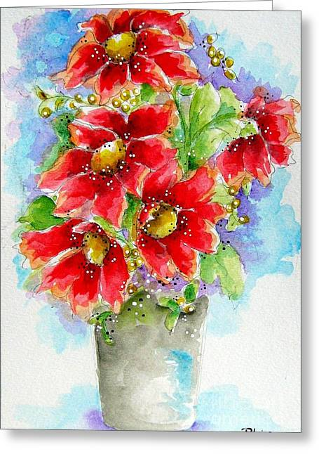 Greeting Card featuring the painting Red Flowers by Patrice Torrillo