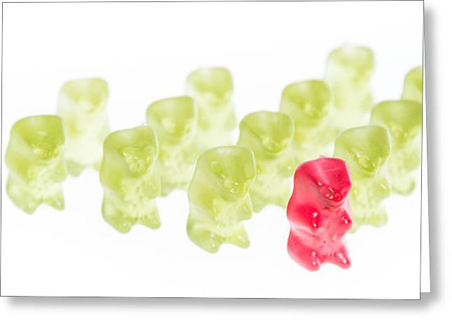 Red Gummi Bear Is Leading The Group Greeting Card by Handmade Pictures
