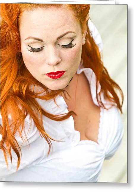 Red Hair Girl In Pin-up Style Portrait Greeting Card by Jean Schweitzer