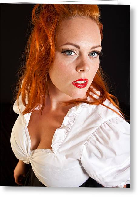 Red Hair Girl In Pin-up Style Portrait Shot In Studio Greeting Card by Jean Schweitzer
