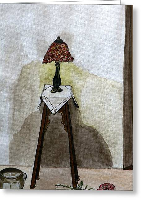 Red Lamp Greeting Card by Shlomo Zangilevitch