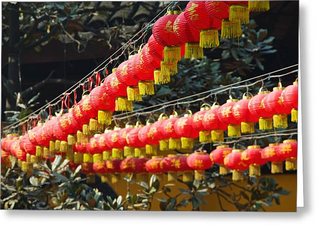 Red Lanterns At A Temple, Jade Buddha Greeting Card by Panoramic Images