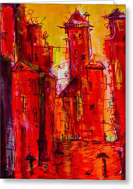 Red Rainy City 2 Greeting Card