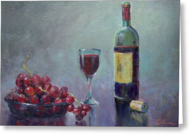 Red - Red Wine Greeting Card by Ron Wilson