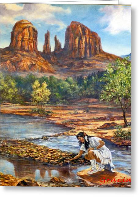 Red Rock Crossing Greeting Card by Gracia  Molloy