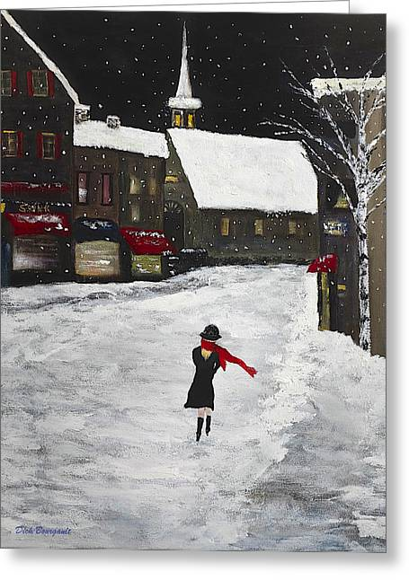 Red Scarf Winter Scene Greeting Card