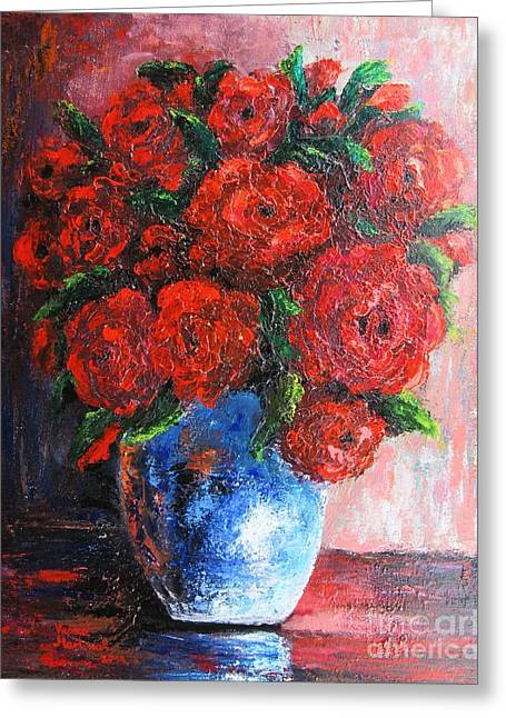 Greeting Card featuring the painting Red Scent by Vesna Martinjak