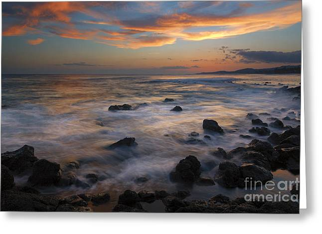 Red Sky Paradise Greeting Card by Mike Dawson