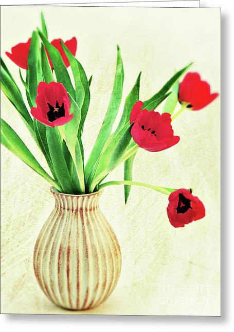 Red Tulips Greeting Card by Angela Doelling AD DESIGN Photo and PhotoArt