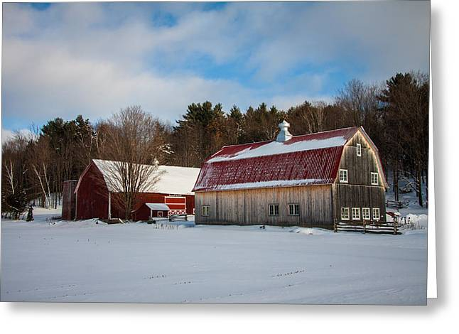 Red Vermont Barn Greeting Card by Jeff Folger