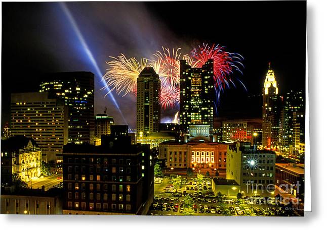 21l334 Red White And Boom Fireworks Display Photo Greeting Card