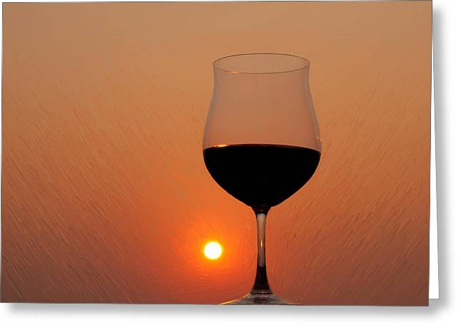 Red Wine At Sunset Greeting Card
