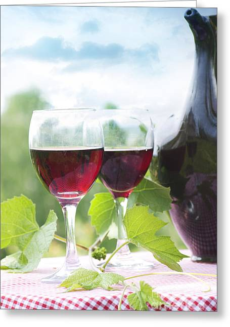 Red Wine Greeting Card by Mythja  Photography