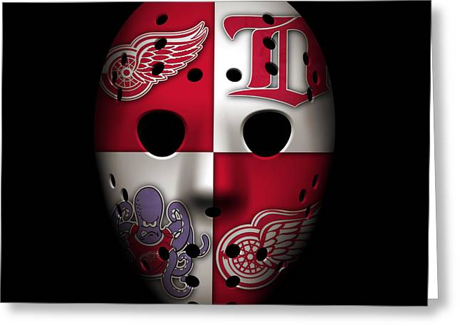 Red Wings Goalie Mask Greeting Card by Joe Hamilton
