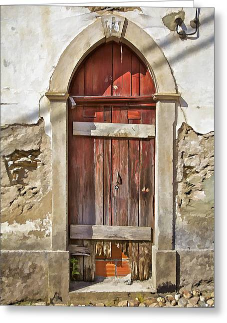 Red Wood Door Of The Medieval Village Of Pombal Greeting Card by David Letts