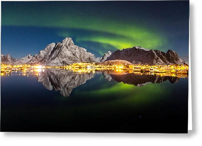 Reflected Aurora Greeting Card by Alex Conu