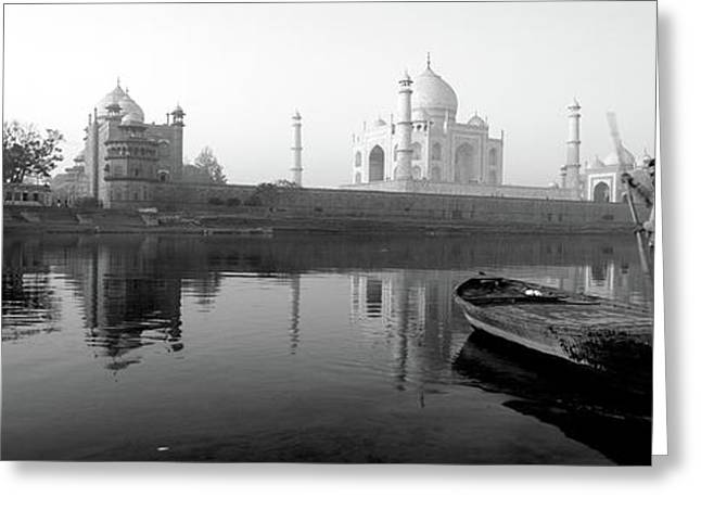 Reflection Of A Mausoleum In A River Greeting Card by Panoramic Images