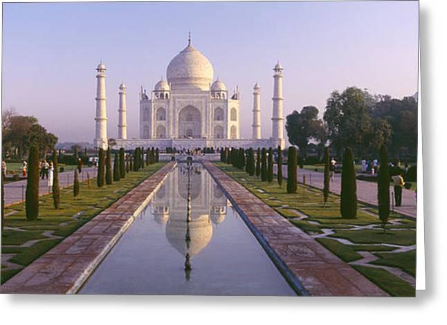 Reflection Of A Mausoleum On Water, Taj Greeting Card