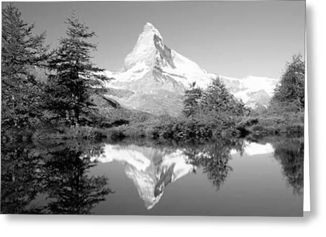 Reflection Of Trees And Mountain Greeting Card