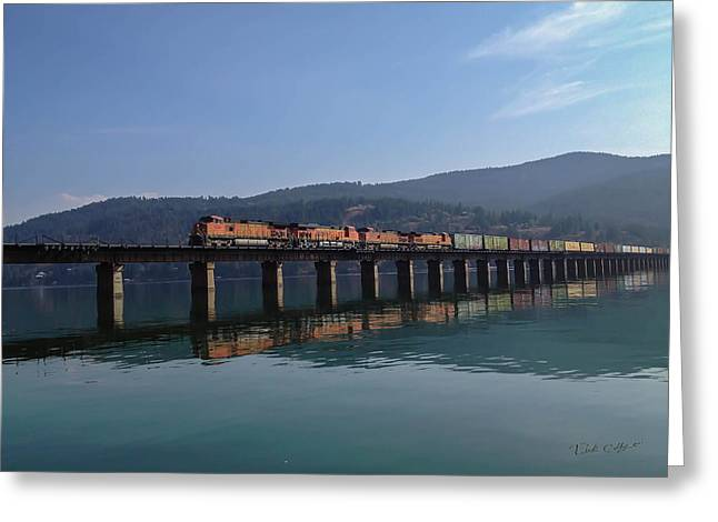 Reflection On Trains Greeting Card by Rick Colby