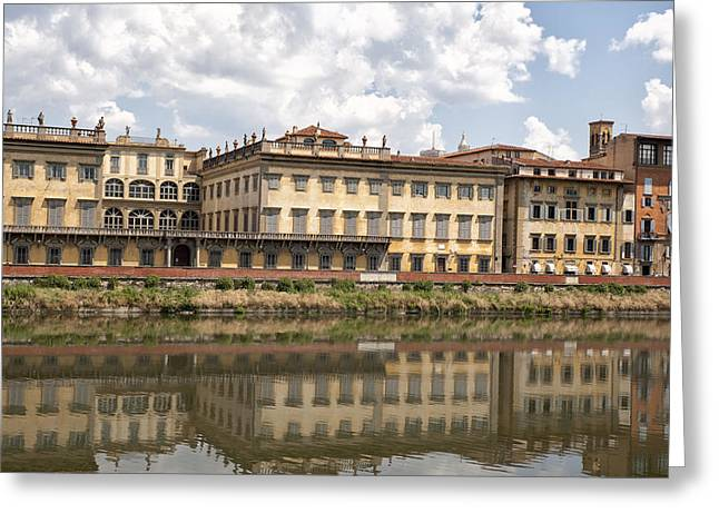 Reflections In The Arno River Greeting Card by Melany Sarafis