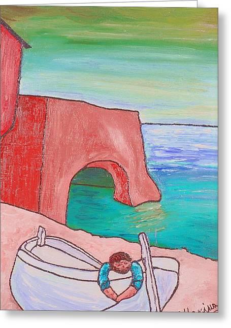 The White Boat. Greeting Card by Loredana Messina