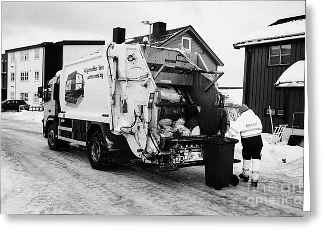 refuse collection during winter Honningsvag finnmark norway europe Greeting Card