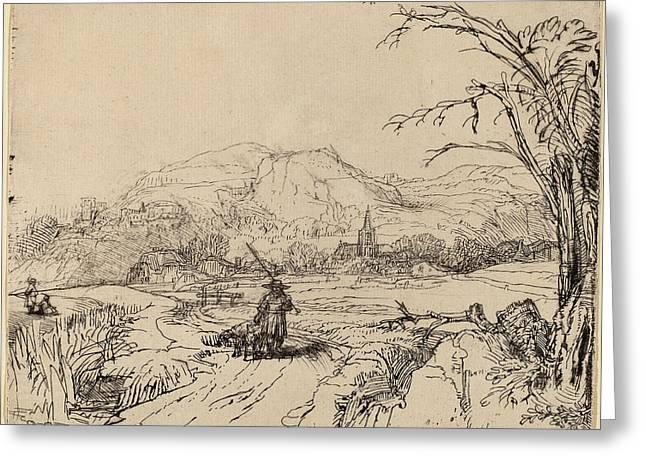 Rembrandt Van Rijn Dutch, 1606 - 1669, Landscape Greeting Card by Quint Lox
