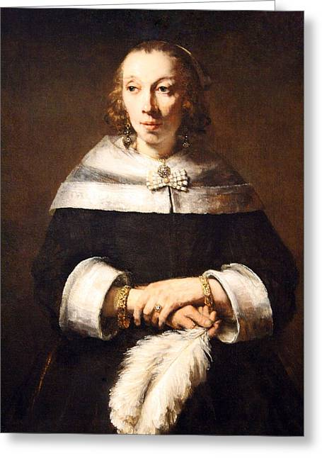 Rembrandt's Portrait Of A Lady With An Ostrich Feather Fan Greeting Card