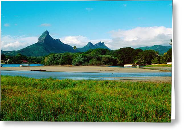 Rempart And Mamelles Peaks, Tamarin Greeting Card by Panoramic Images