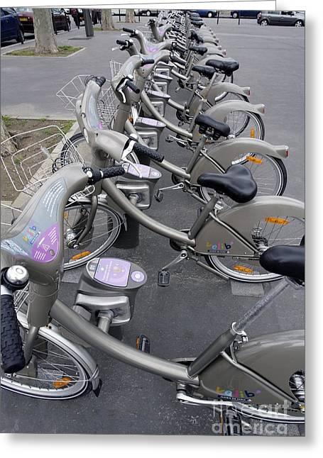 Rental Bicycles, Paris Greeting Card by Carlos Dominguez