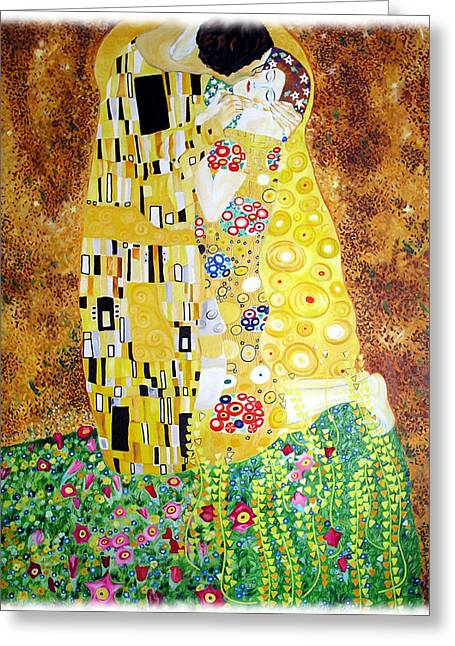 Reproduction Of - The Kiss By Gustav Klimt Greeting Card by Ze  Di